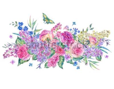 Adesivo Cartão decorativo aquarela vintage com rosas e lilases, flores, folhas e botões, botânica ilustração floral isolado no fundo branco