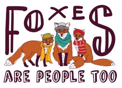 Adesivo Cartão do animal do poster do sinal do divertimento da raposa do hipster.