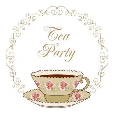 Adesivo Cartão do tea party