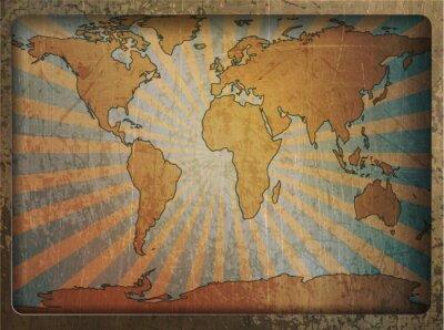 Adesivo Cartão do vintage mapa do mundo