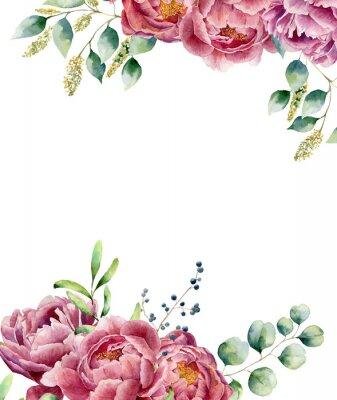 Adesivo Cartão floral da aguarela isolado no fundo branco. O posy do estilo do vintage ajustou-se com ramos, peônia, bagas, hortaliças e folhas do eucalipto. Projeto pintado mão da flor
