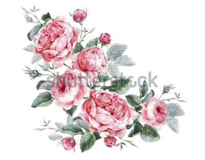 Adesivo Cartão floral vintage clássico, buquê de aquarela de rosas inglesas, bela ilustração aquarela