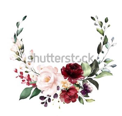 Adesivo Cartão. Projeto do convite da aguarela com as rosas de Borgonha e vermelho, folhas. flor, fundo com elementos florais, ilustração botânica da aguarela. Modelo vintage. coroa de flores, moldura redonda