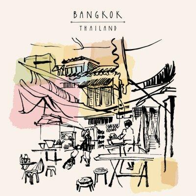Adesivo Cartão tirado mão de Banguecoque Tailândia