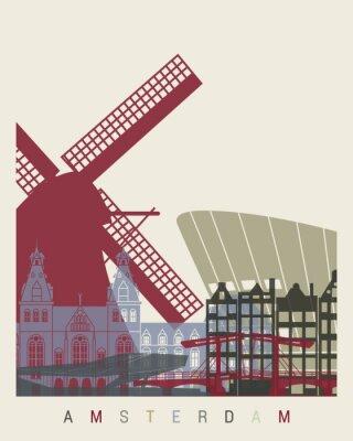 Adesivo Cartaz da skyline de Amsterdão