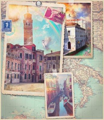 Adesivo Cartões postais e colagem da cidade de Veneza do vintage