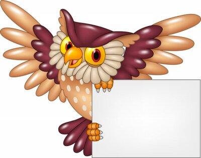 Adesivo Cartoon, coruja, pássaro, Vôo, segurando,