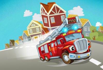 Adesivo cartoon fire brigade driving through the city - illustration for children