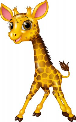 Adesivo Cartoon girafa bebê isolado no fundo branco
