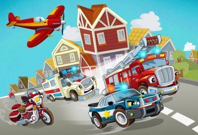 Adesivo cartoon scene with fireman vehicle on the road with police car and ambulance - illustration for children