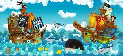 Adesivo cartoon scene with pirates on the sea battle - illustration for the children