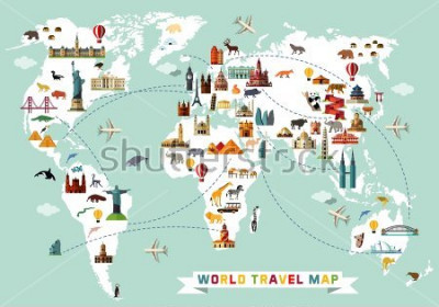 Adesivo Cartoon world map with animal and sightseeing attractions. Vector Illustration.