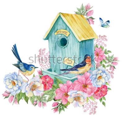 Adesivo Casa de pássaro, andorinha e pássaro azul, borboleta. Ilustração de aquarela cartão de primavera