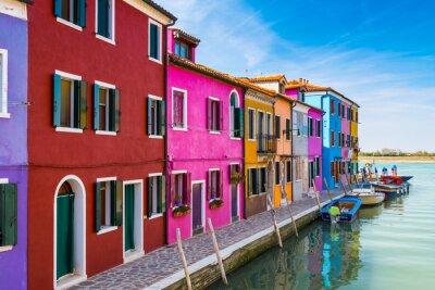 Adesivo Casas pintadas de Burano na Lagoa de Veneza, Itália.
