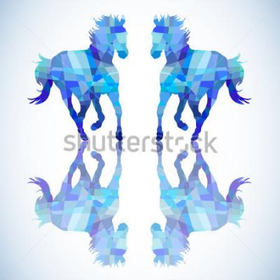 Adesivo Cavalo abstrato azul de formas geométricas