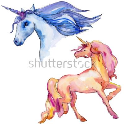 Adesivo Cavalo de unicórnio fofo. Conto de fadas. Personagem de chifre de animais do arco-íris. Elemento de ilustração. Animal selvagem do Aquarelle para o fundo, uma textura, o teste