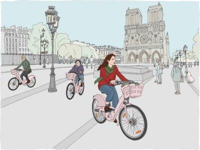 Adesivo Cena da cidade de Paris. Uma mulher gosta de andar de bicicleta pela cidade, em frente à famosa Catedral de Notre Dame. Mão ilustrações desenhadas.