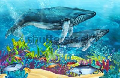 Adesivo cena de desenho animado com baleia perto de recifes de corais - ilustração para crianças