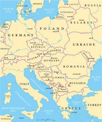 Adesivo Central Europe Political Map