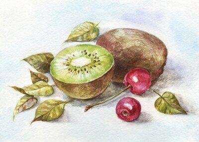 Adesivo cereja aguarela e kiwi