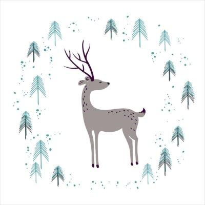 Adesivo Cervos na floresta do pinho do inverno isolada no branco.