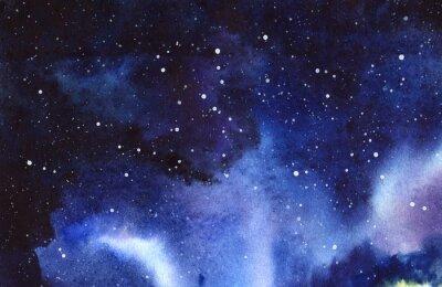 Adesivo Céu estrelado da noite. Entregue tirado em uma ilustração real da aquarela do papel molhado.