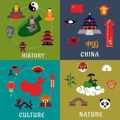 Adesivo China de história, cultura e natureza ícones