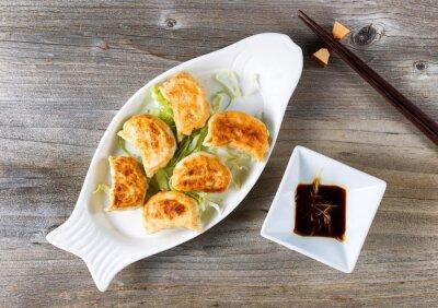 Adesivo Chinês, fritado, bolinhos, prato, mergulhar, molho, pronto, comer