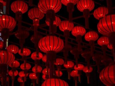 Adesivo Chinês Lanternas, Ano Novo Chinês.