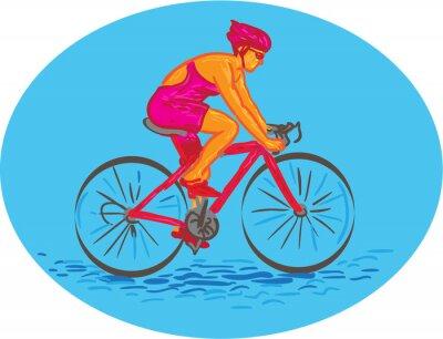 Adesivo Ciclista Feminino Equitação Bicicleta Desenho