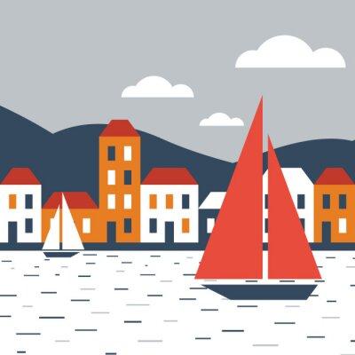 Adesivo Cidade junto ao mar