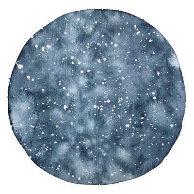 Adesivo Círculo em aquarela backround de um céu noturno