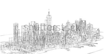 Adesivo city, panorama, 3d illustration