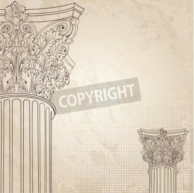 Adesivo Classic columns seamless background. Roman corinthian column. Illustration onold paper background for design sketch