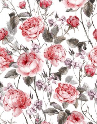 Adesivo Classical vintage floral seamless pattern, watercolor bouquet of