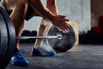 Adesivo Closeup, weightlifter, clapping, mãos, antes, barbell, exercício ...