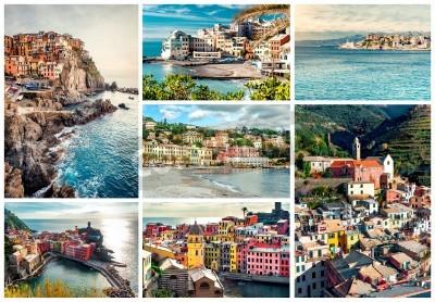 Adesivo Colagem de marcos mais famosos da Itália. Italian Riviera-Genoa, Manarola, Vernazza, Bogliasco, Santa Margherita.