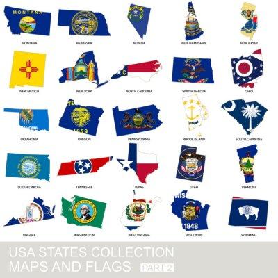 Adesivo Coleção de Estado dos EUA, mapas e bandeiras