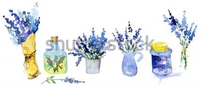 Adesivo Coleção de flores de lavanda em um fundo branco. Conjunto de flores vintage. Ervas do jardim. Ervas isoladas no branco. Planta de ervas. projeto do país de jardinagem. florista, decoração de plantas.