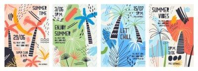 Adesivo Coleção de modelos de convite ou cartaz decorado com palmeiras tropicais, manchas de tinta, manchas e rabisco para festa de dança ao ar livre de verão. Ilustração vetorial para a promoção de eventos d