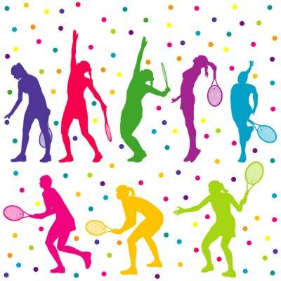 Adesivo Coleção de silhueta jogadores de tênis