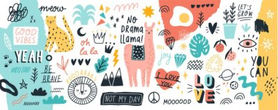 Adesivo Coleção de slogans manuscritas ou frases e mão de elementos de design decorativo desenhado na moda estilo doodle - animais, plantas, símbolos. Ilustração colorida do vetor para a cópia do t-shirt ou d