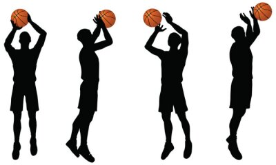 Adesivo coleta de jogadores de basquete silhueta em posição shoot