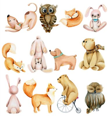 Adesivo Collection of watercolor cute animals (rabbits, foxes, owls, bears and dogs), hand drawn isolated on a white background