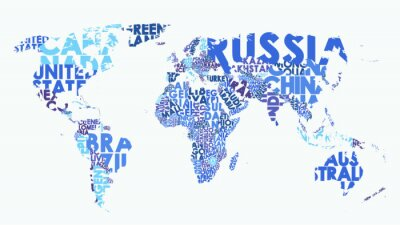 Adesivo Color political map of the world consisting of country names, text composition detailed vector illustration