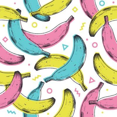 Adesivo Colored fun banana seamless pattern. 90s style background. Vector illustration