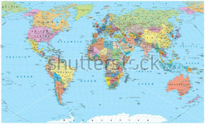 Adesivo Colored World Map - borders, countries, roads and cities. Detailed World Map vector illustration.