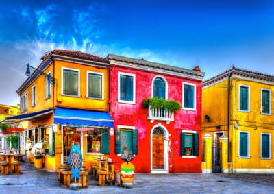 Adesivo colorful houses in a raw at Burano island near Venice Italy. HDR