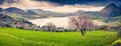 Adesivo Colorful morning panorama of the lake Rosamarina