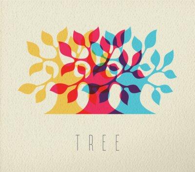 Adesivo Colorido, árvore, silueta, conceito, fundo